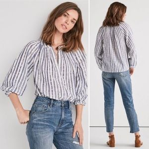 Lucky Brand Striped Poet Peasant Blouse Eyelet